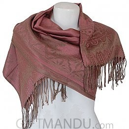Women Mayur Print Soft Luxurious Scarf Wrap shawl - Pink
