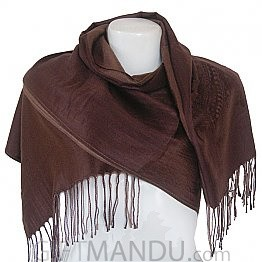 Women Mayur Print Soft Luxurious Scarf Wrap shawl - Brown