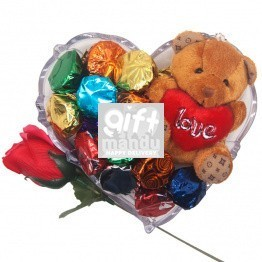 Teddy, Fresh Rose & Chocolate Gift Tray