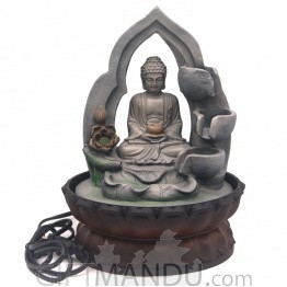 "Meditating Buddha Tabletop Water Fountain - 11"" Tall"
