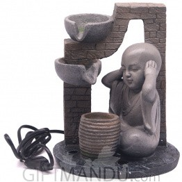 "Monk Indicating Don't Hear Bad Design Water Fountain - 9"" Tall"