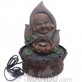 "Smiling Monk Face on Leaf Design Water Fountain - 11"" Tall"