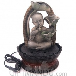 "Monk Indicating Keep Peace Design Water Fountain - 12"" Tall"