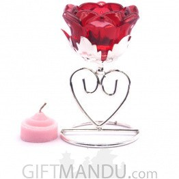 Rose Flower Tea Light Candle with Candle Holder Table Decor - Red