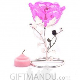 Rose Flower Tea Light Candle with Candle Holder Table Decor - Pink