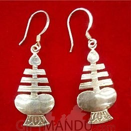 Silver Earring - Newari Drop Earring