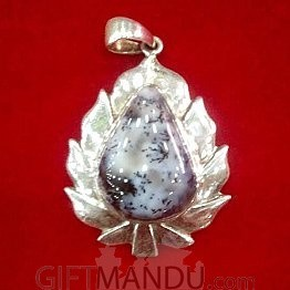 Silver Pendant - Drop Shaped Pendant with shining stone