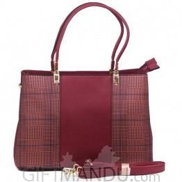 Stylish Hand-held Ladies Bag - Maroon