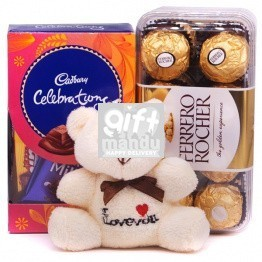 White Teddy Bear with Ferrero Rocher & Cadbury Celebration