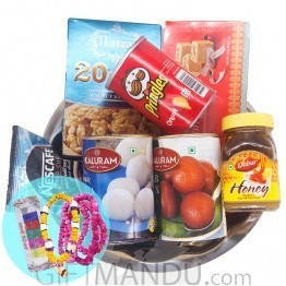 Sweets & coffee Tray Set with Bhai Tika Mala Set