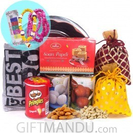 Sweets, Dry Nuts with Bhai Tika Mala Set & T-shirt