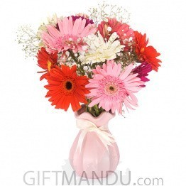 Mix Gerbera Bunch In Pink Ceramic Vase