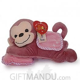 Cute Purple Monkey Resting On Pillow
