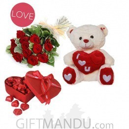 Roses Bunch with Teddy & Chocolates