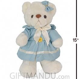 Cute and Lovely Teddy Bear with Blue Dress