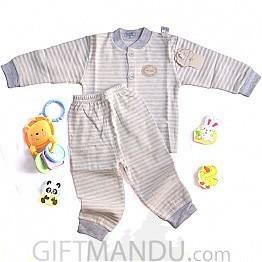 Two Pcs Full Sleeve Top Trouser Set - Stripe Blue (0-3 months)
