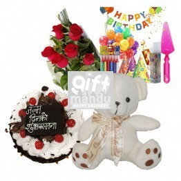 Birthday Love Surprise - Perfect Combo Cake, Teddy, Flowers, Kits