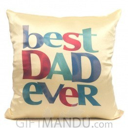 Best Dad Ever Printed Cushion (Yellow)