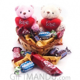 Valentine Miniature Chocolates Package with Couple Teddy in Heart Basket