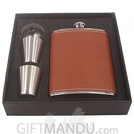 Brown 8 Oz Stainless Steel Drinks Hip Wine Flask Gift Set Box