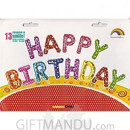 Colorful Heart Printed Air Fill 'Happy birthday' Foil Balloon Banner (Large)