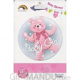 Pink Teddy Foil Baby Shower Balloon for Baby Girl (Air or Helium)