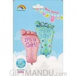 Cute Pink Little Girl Footprint Foil Balloon (Air or Helium)