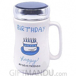 Birthday Ceramic Coffee Mug (Blue Cake)