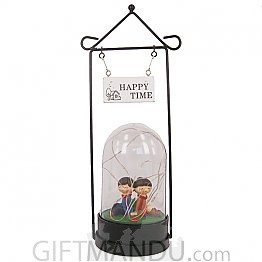 Happy Time Valentine Couple Inside A Glass Tube