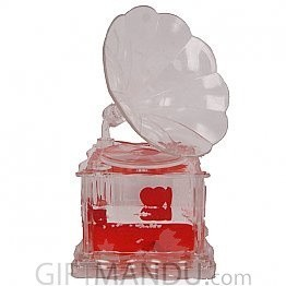 Acrylic Crystal Gramophone With Two Floating Red Hearts