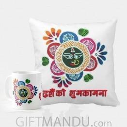 Dashain Special Printed Cushion And Coffee Mug