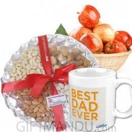 Apple Basket, Dry Nuts and Best Dad Mug