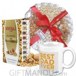 Dry Nuts Tray, Best Dad Mug and Walnut Healthy Bites Combo
