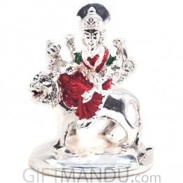Silver Wax Idol of Lord Devi Durga- 2.5''