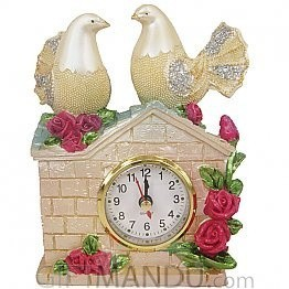 Two Lovely Pigeons On Top of House Clock - Table Top
