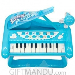 Little Piano with Stand and Mike - Battery Operated - Blue