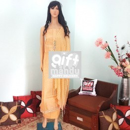 Kurta Piece - Orange Tops And Shawl With Jhumka