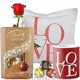 Lindt Lindor Chocolate Box with Love Cushion, Mug and Free Rose