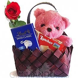 My Love for you - Teddy, Lindt, Loacker Chocolate Basket with Free Rose