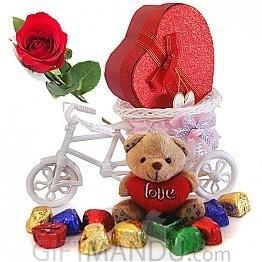 Carry My Heart Rickshaw - Cute Teddy, Gourmet Chocolate Heart Box with Free Rose