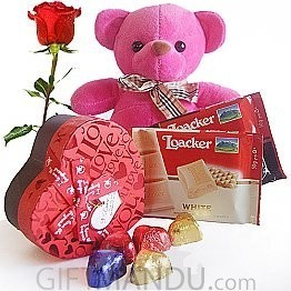 Loacker Chocolates, Gourmet Heart Chocolate Box with Pink Teddy, Free Rose