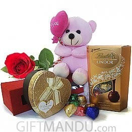 Lindt Lindor  & Gourmet Heart Chocolate Box with Heart Pink Teddy, Free Rose in Box