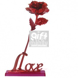 Red Gold Rose, Gold Foil Decoration Artificial Rose Flower in Gift Box