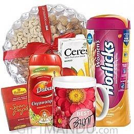 Dry Nuts, Soan Papdi, Women's Horlicks, Juice, Chyawanprash and Best Aama Mug