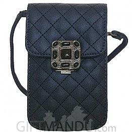Soft Leather Mini Portable Cash Wallet Mobile Phone Single Shoulder Bag by ILAHUI -(Navy Blue)