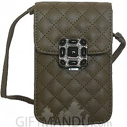 Soft Leather Mini Portable Cash Wallet Mobile Phone Single Shoulder Bag by ILAHUI -(Army Green)