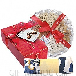Guylian Chocolate Box, Dry Nuts Tray with Free Summer Scarf