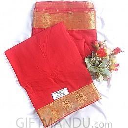 Fancy Plain Chiffon With Banarasi Jaree Border Red (With Blouse) Parsley