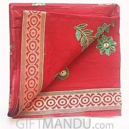 Tulasi Red Cotton Saree with Flower Printed by JOYFULL