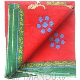 Cotton Saree - Red with Green Border